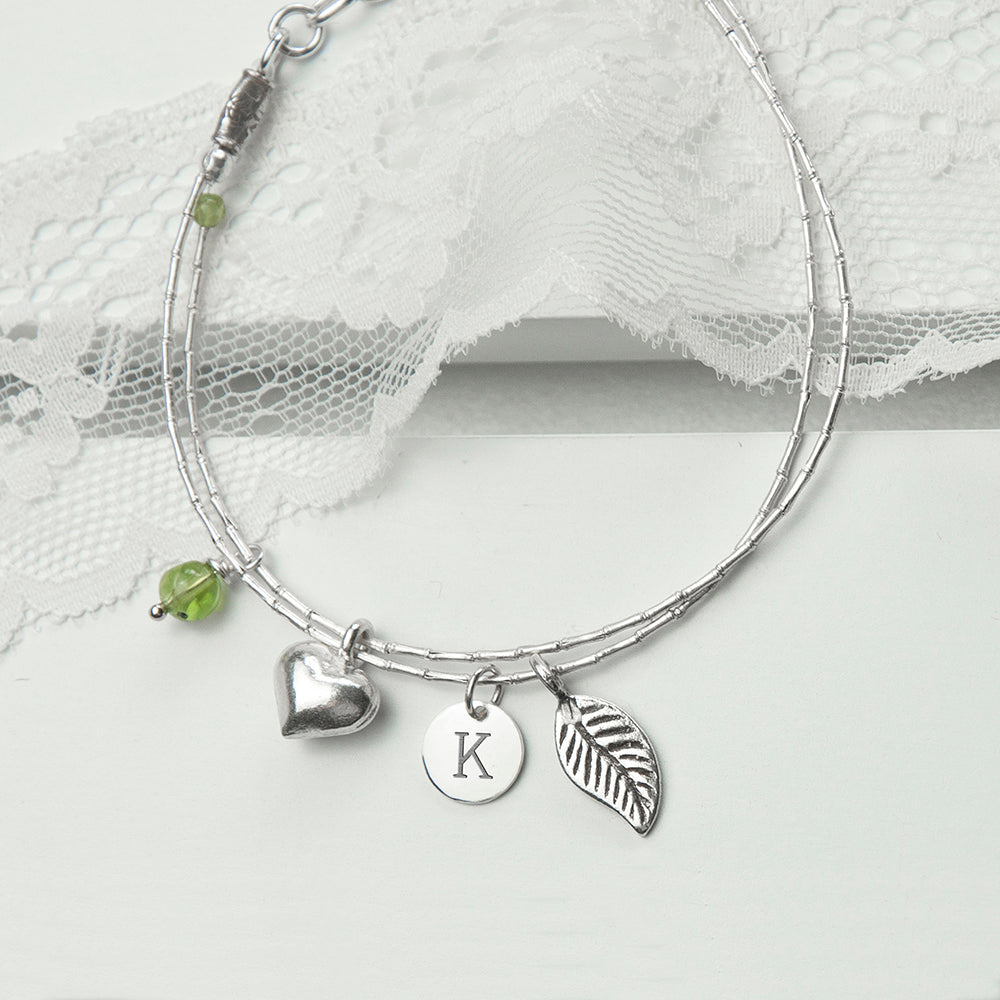 Personalised Silver Bracelet with Peridot for Adult or Child - treat-republic