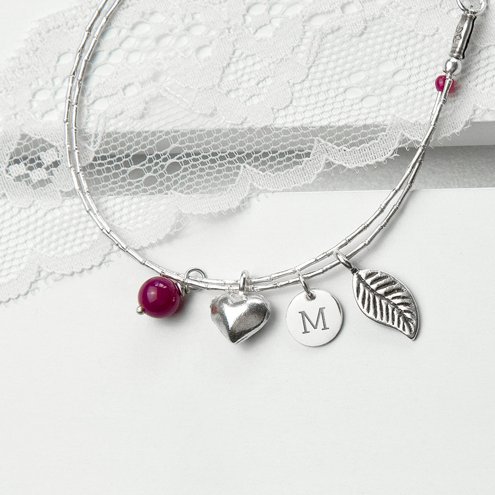 Personalised Silver Bracelet with Ruby for Adult or Child