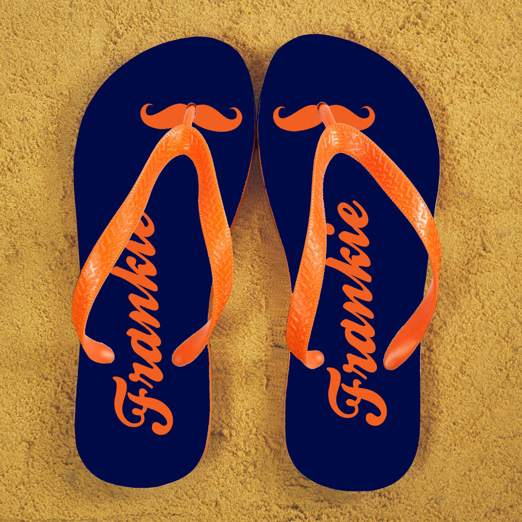 Moustache Style Personalised Flip Flops in Blue and Orange - treat-republic