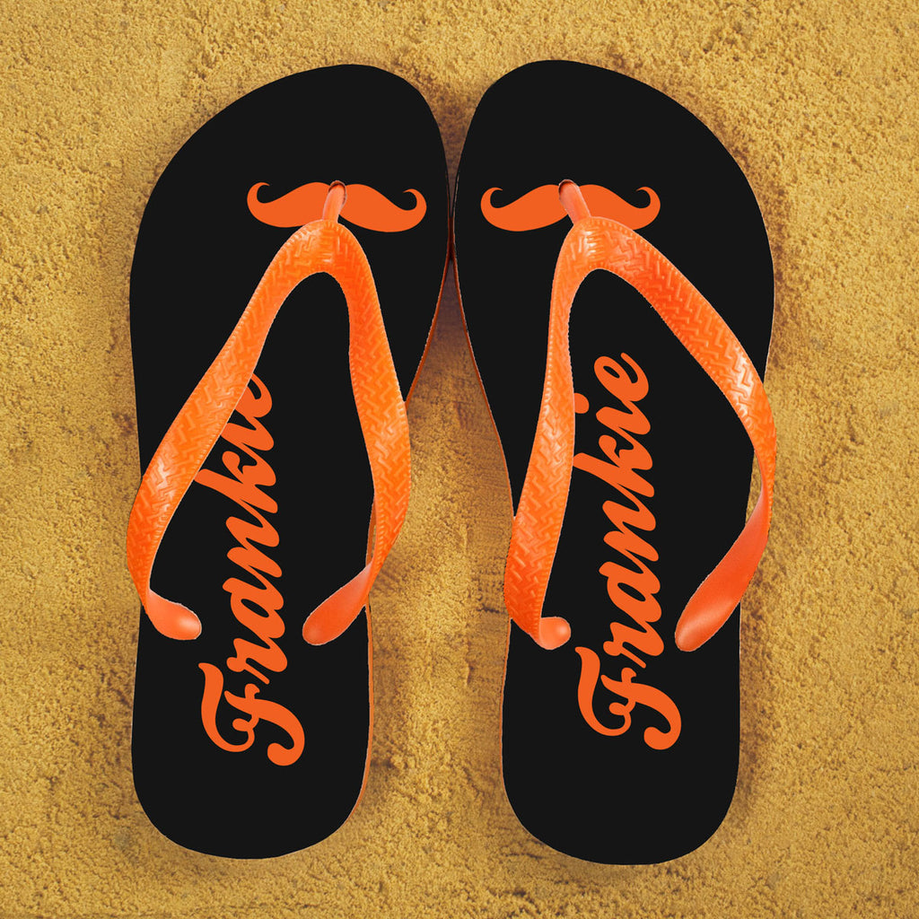 Moustache Style Personalised Flip Flops in Grey and Orange - treat-republic