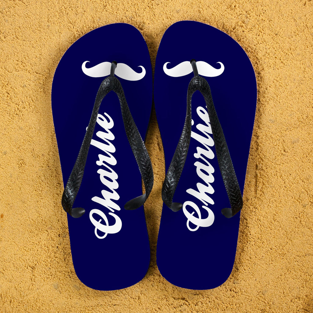 Moustache Style Personalised Flip Flops in Navy Blue - treat-republic