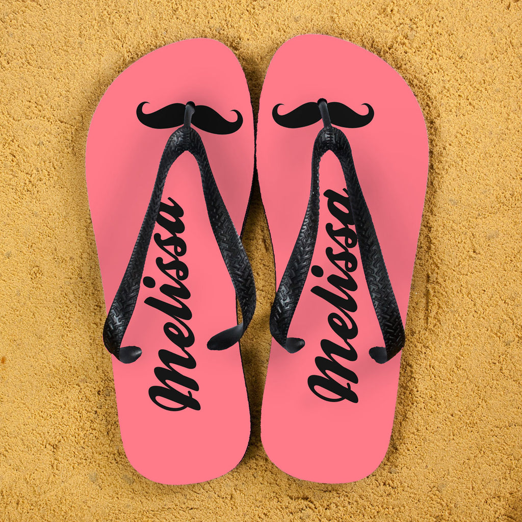 Moustache Style Personalised Flip Flops in Pink - treat-republic