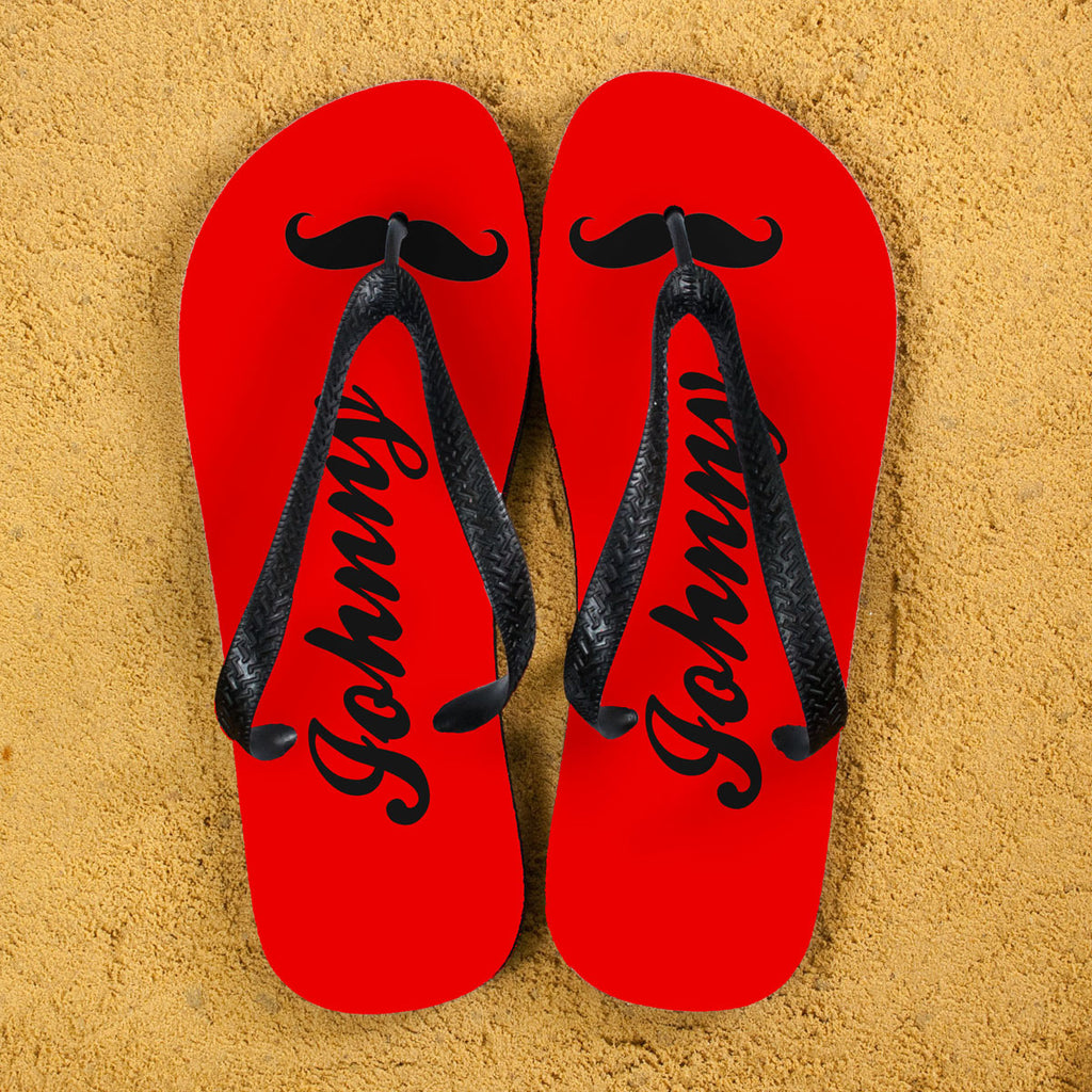 Moustache Style Personalised Flip Flops in Red - treat-republic