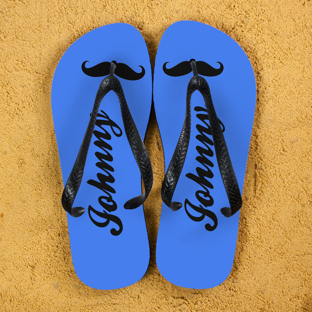 Moustache Style Personalised Flip Flops in Royal Blue - treat-republic