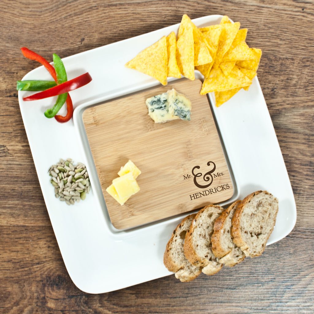 Mr & Mrs Bamboo Square Serving Platter - treat-republic