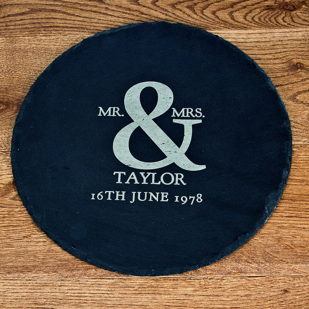 Mr and Mrs Roman Amersand Round Slate Cheese Board - treat-republic