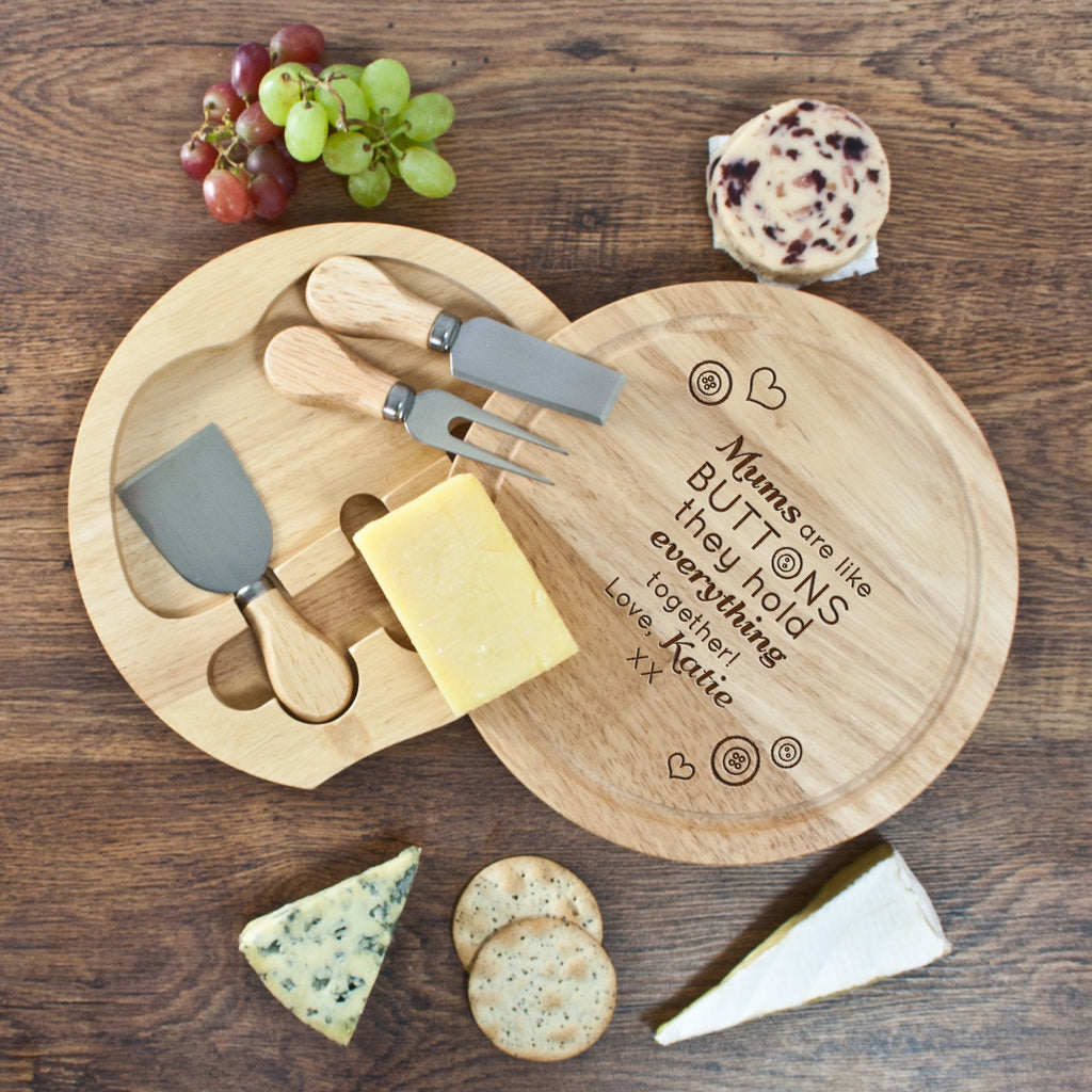 'Mums Are Like Buttons' Round Cheese Board - treat-republic