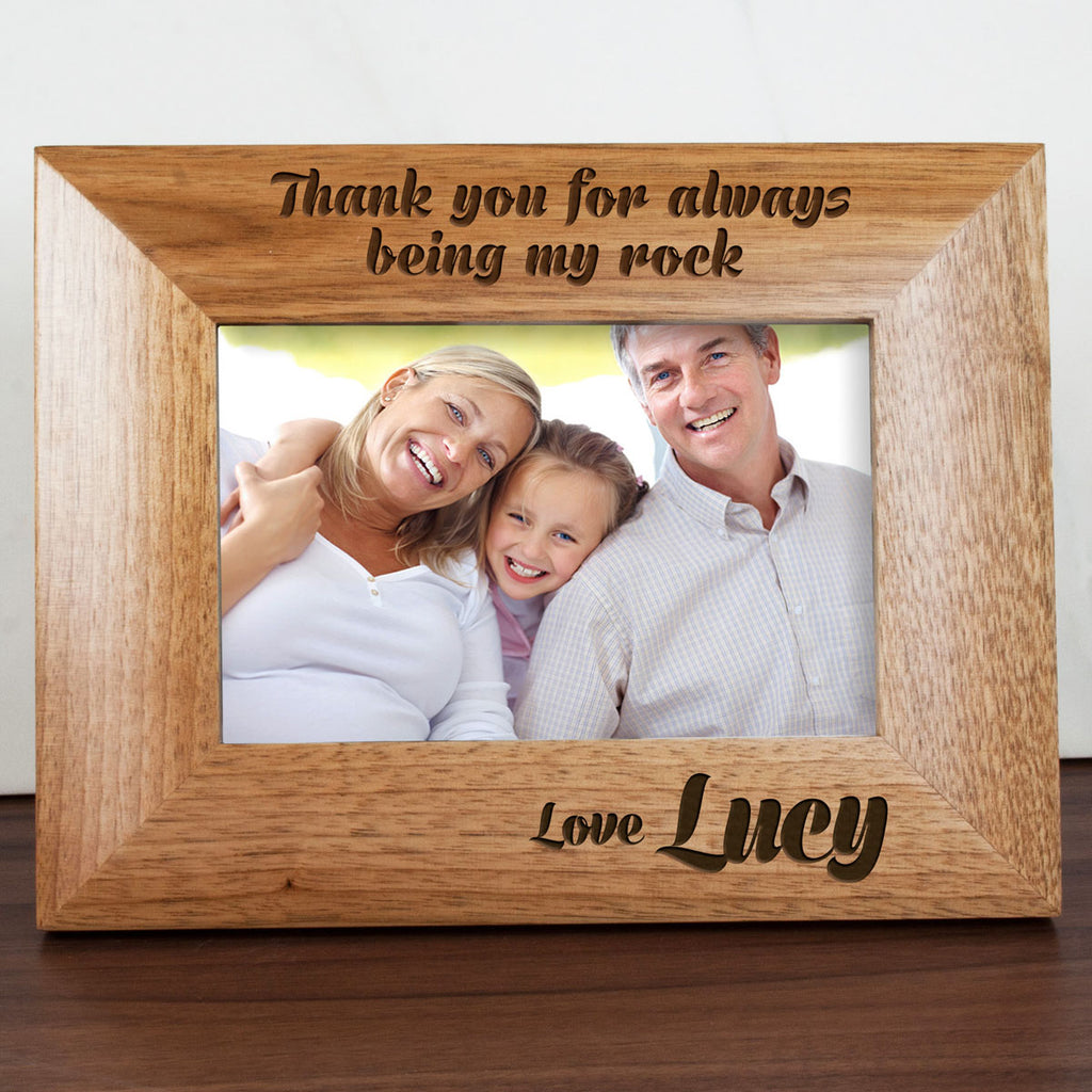 My Dad Is My Rock Engraved Photo Frame - treat-republic
