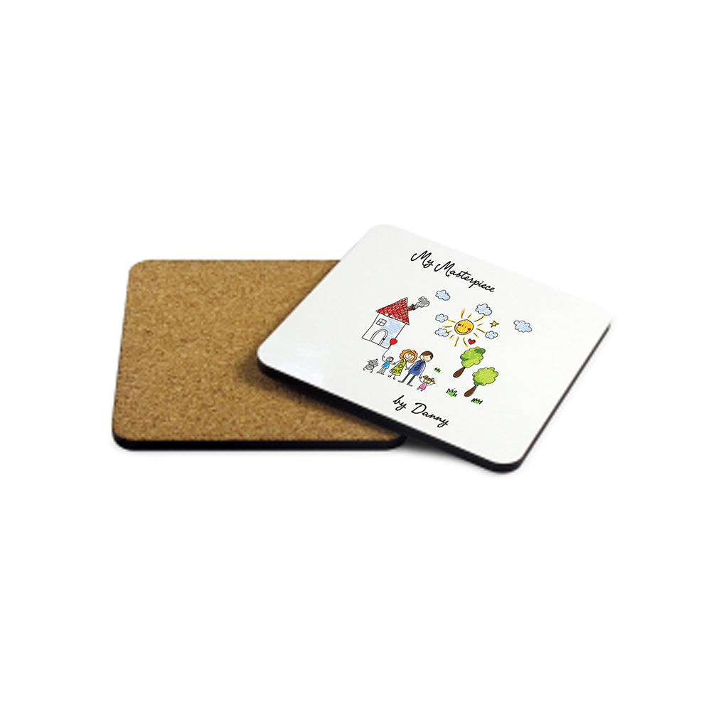 My Mini Masterpiece Personalised Artwork Wooden Coaster - treat-republic