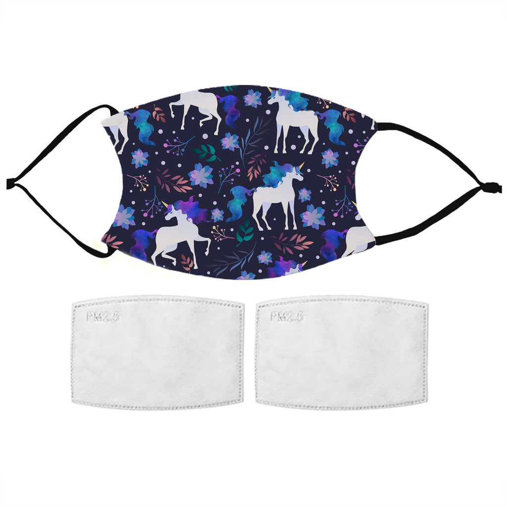 Kids Printed Face Mask - Indigo Unicorn