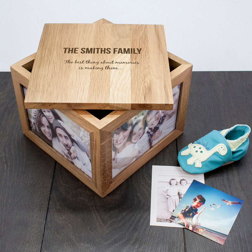 We Are Family Oak Photo Keepsake Box