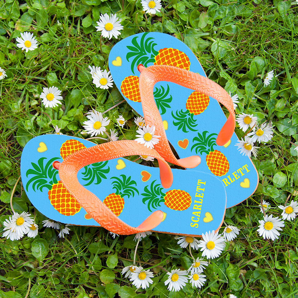 Partying Pineapples! Child's Personalised Flip Flops