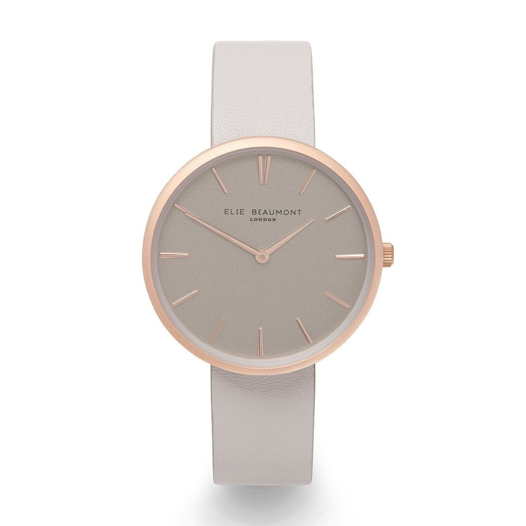 Elie Beaumont Pastel Grey Personalised Leather Watch - treat-republic