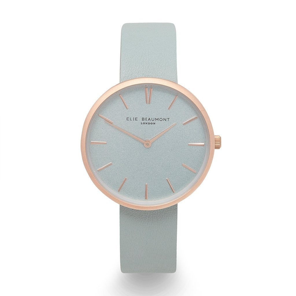 Elie Beaumont Pastel Green Personalised Leather Watch - treat-republic