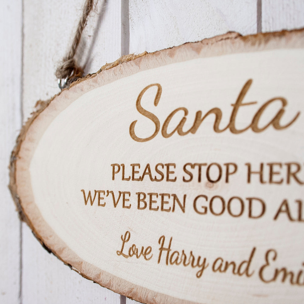Santa Please Stop Here Wooden Sign - treat-republic