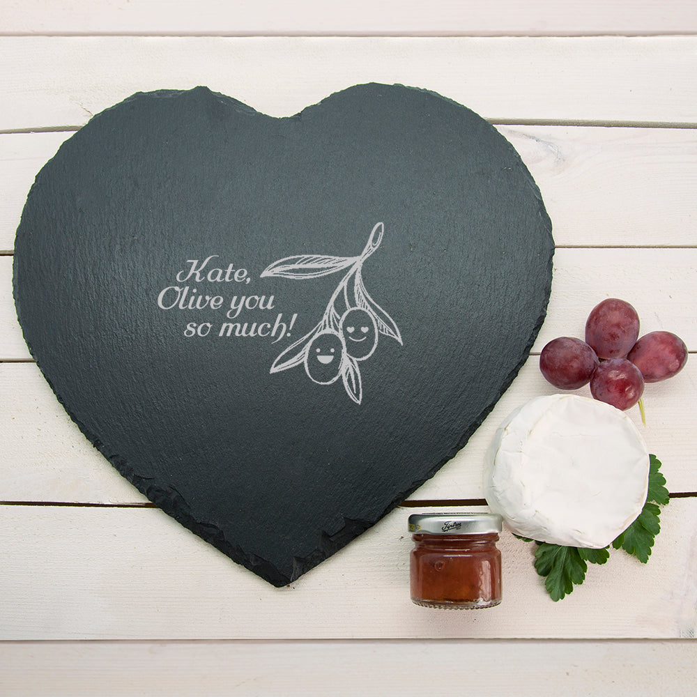 "Romantic Pun ""Olive You So Much"" Heart Slate Cheese Board - treat-republic"