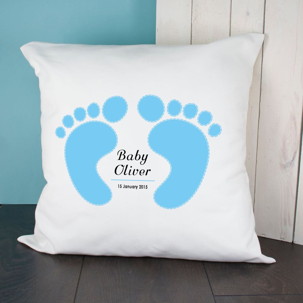 Baby Cushion Cover - Feet (Blue) - treat-republic
