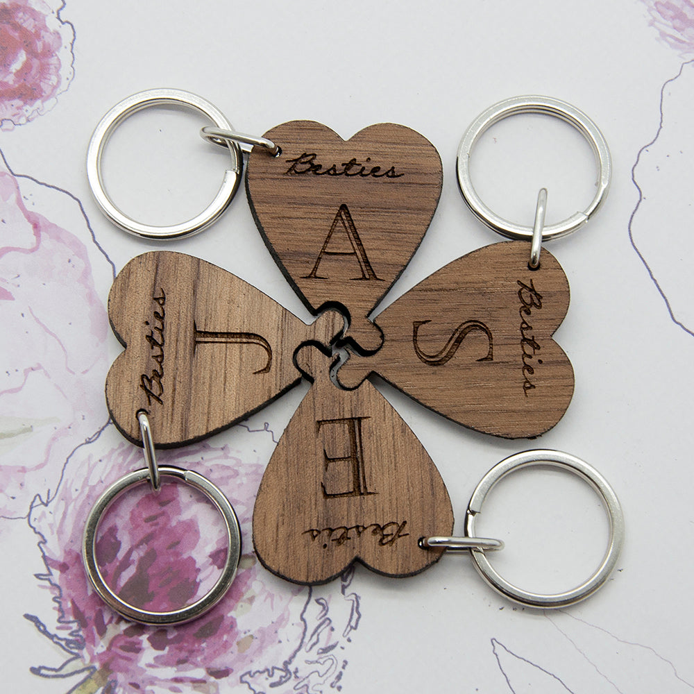 Besties Lucky Clover Wooden Keyring - treat-republic