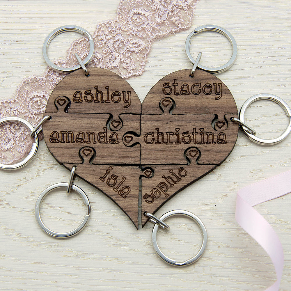 To Our Bridesmaid Heart Jigsaw Wooden Keyring - treat-republic