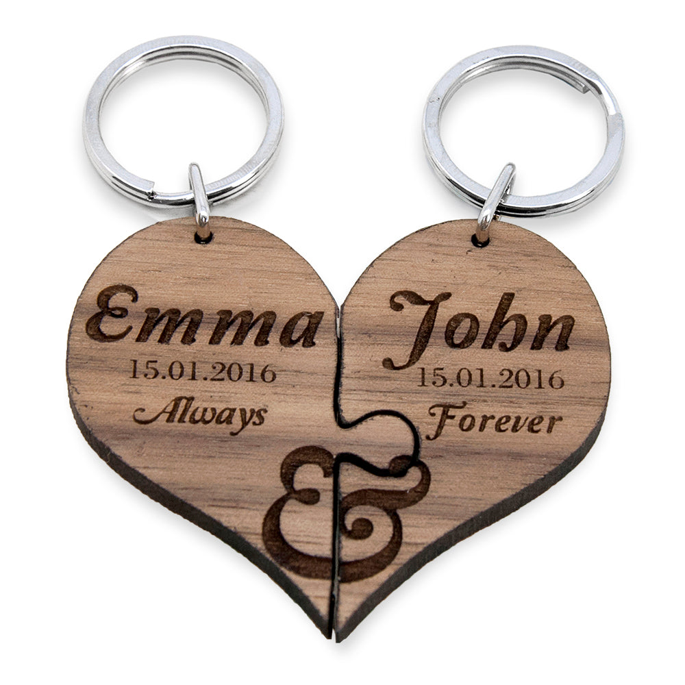 Always & Forever Couples' Jigsaw Keyring - treat-republic