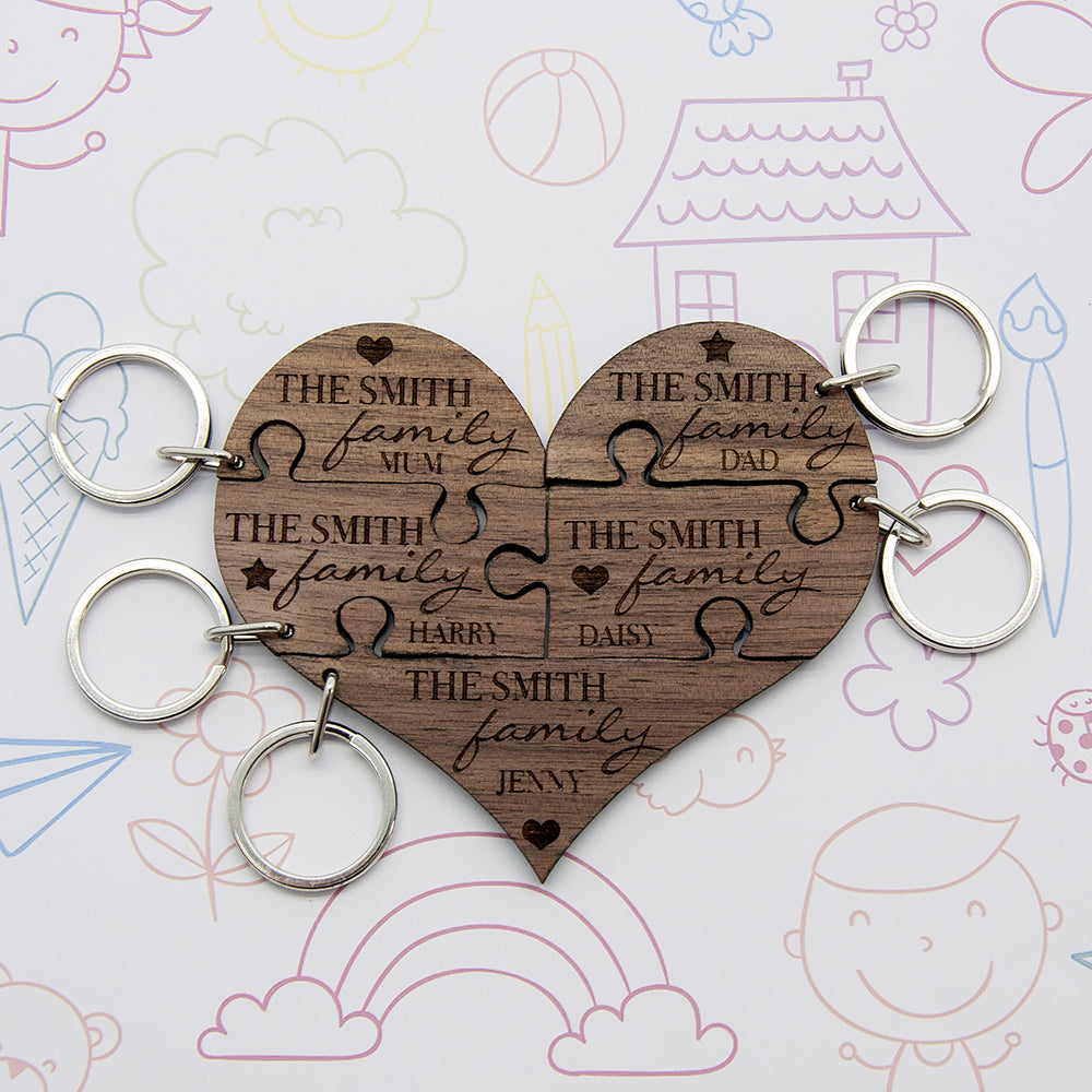 Our Family Heart Wooden Jigsaw Keyring - treat-republic