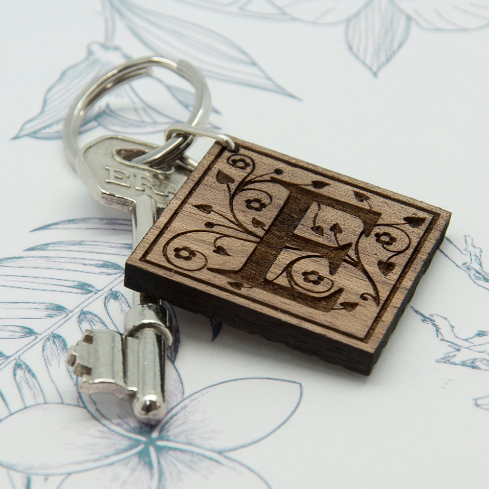 Decorative Initial Wooden Keyring - treat-republic