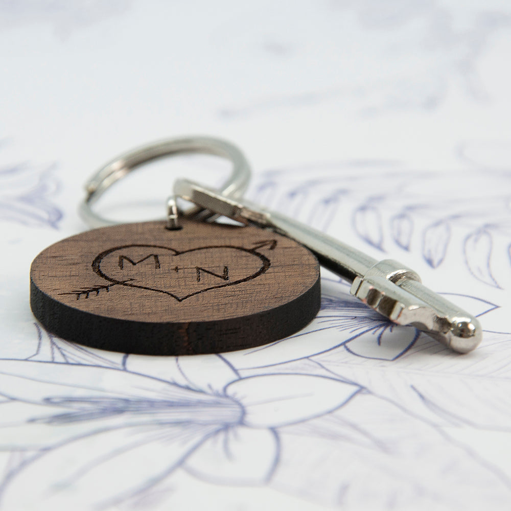 Carved Tree Round Wooden Keyring with Initials