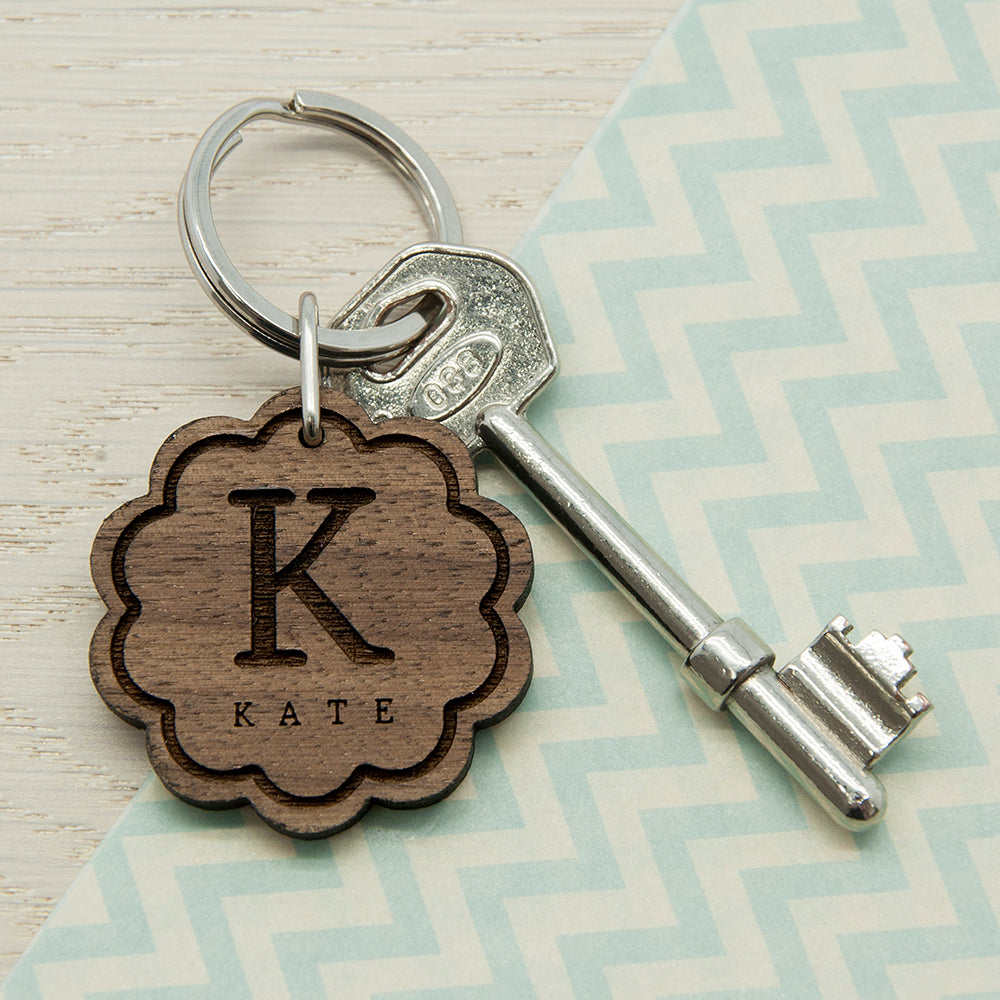 Flower Wooden Keyring with Initial and Name
