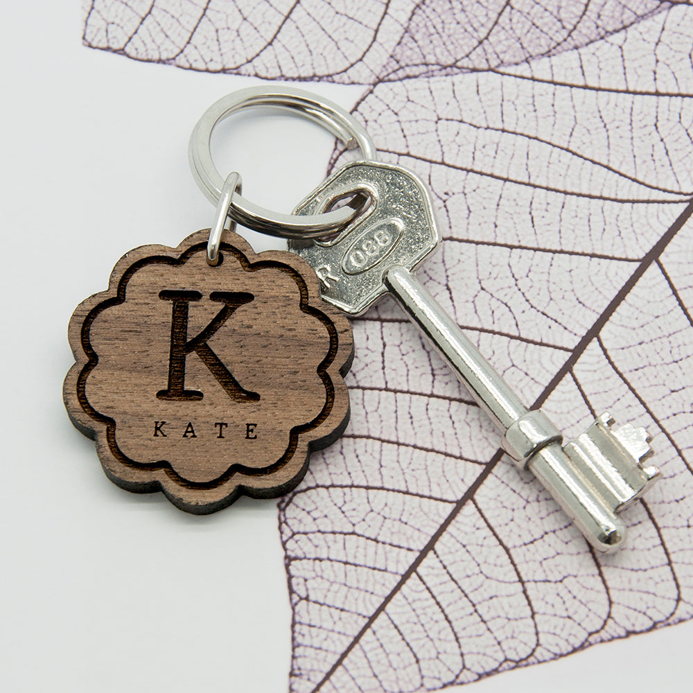Flower Wooden Keyring with Initial and Name - treat-republic