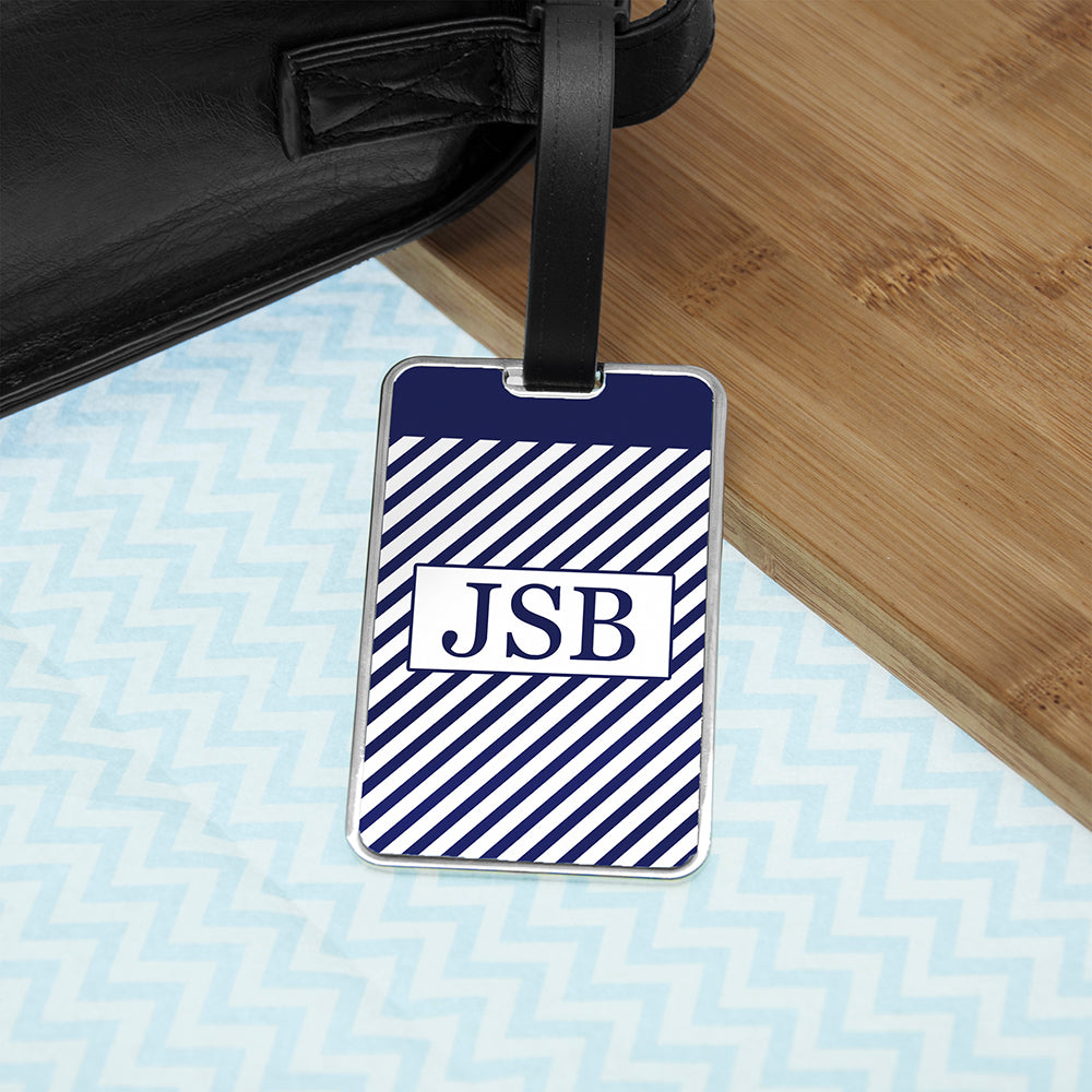Gentlemen's Nautical Monogrammed Luggage Tag - treat-republic
