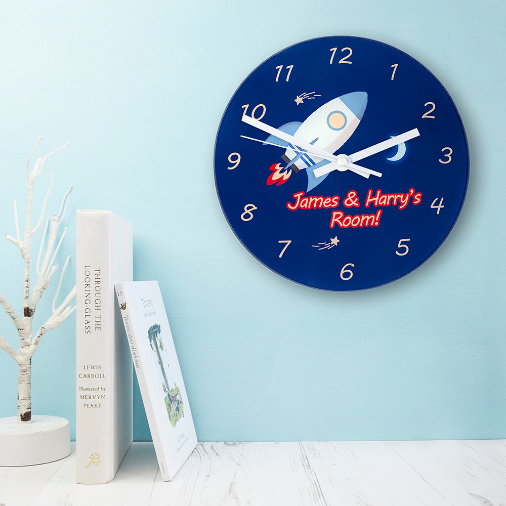 Rocket To The Moon Personalised Wall Clock - treat-republic