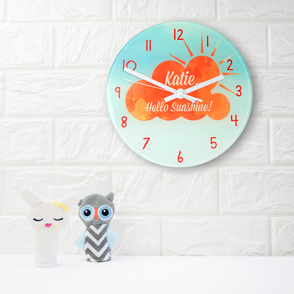 Hello Sunshine Personalised Wall Clock - treat-republic