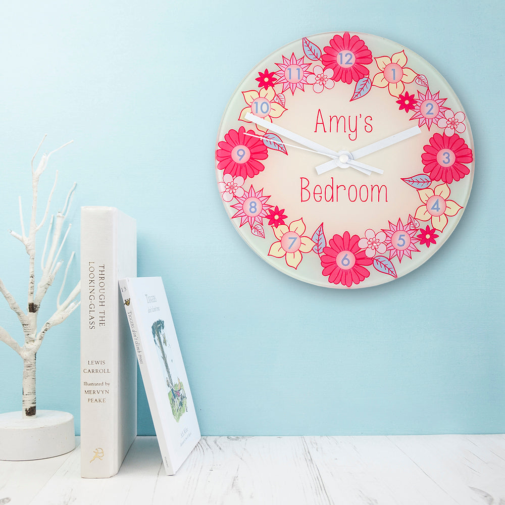 Flower Garland, Personalised Little Girl's Wall Clock - treat-republic
