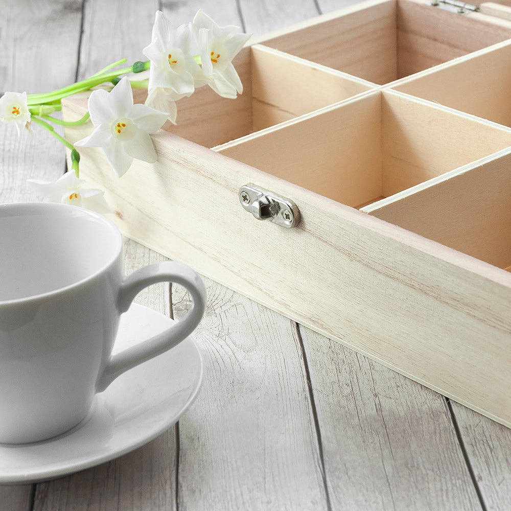 Time For Tea! Coloured Personalised Wooden Tea Box - treat-republic