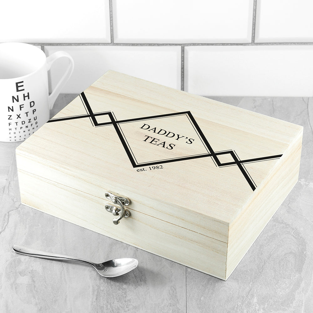 Gentlemen's Teas Personalised Wooden Tea Box - treat-republic