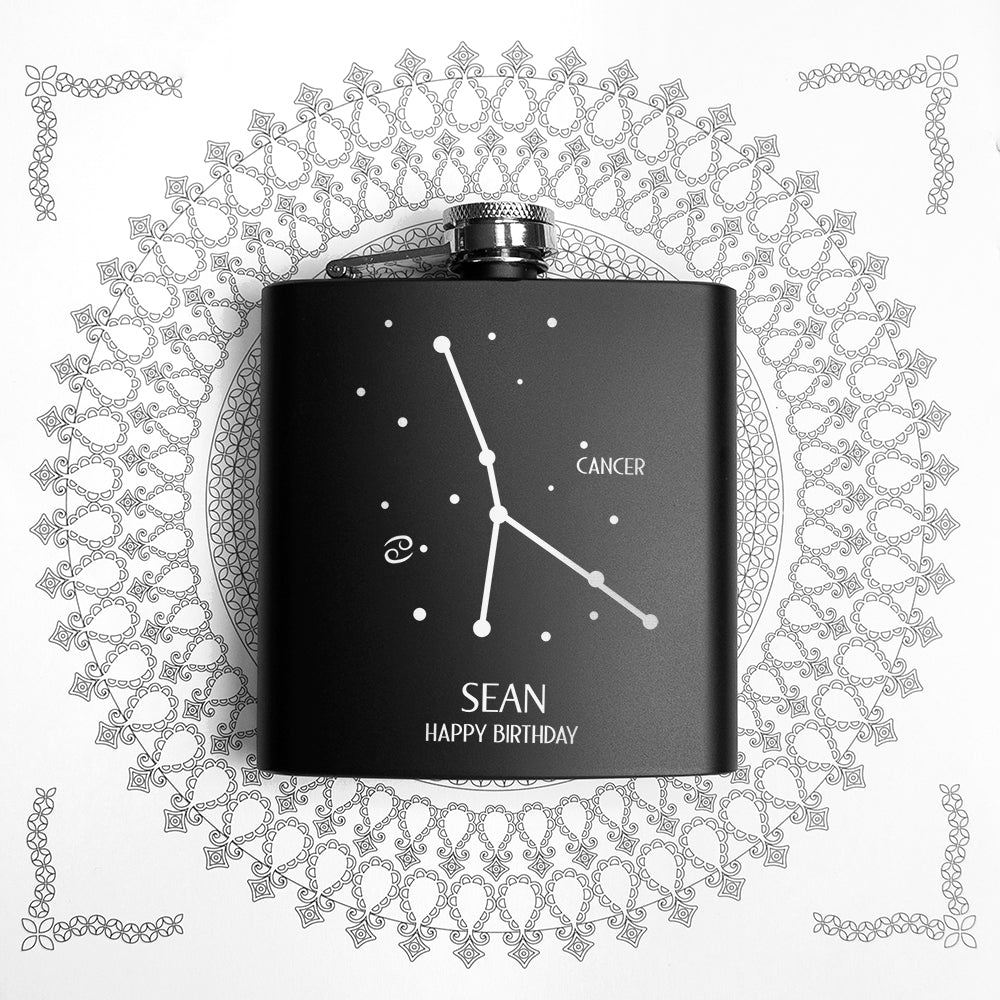 Star Constellation Matte Black Hip Flask - treat-republic