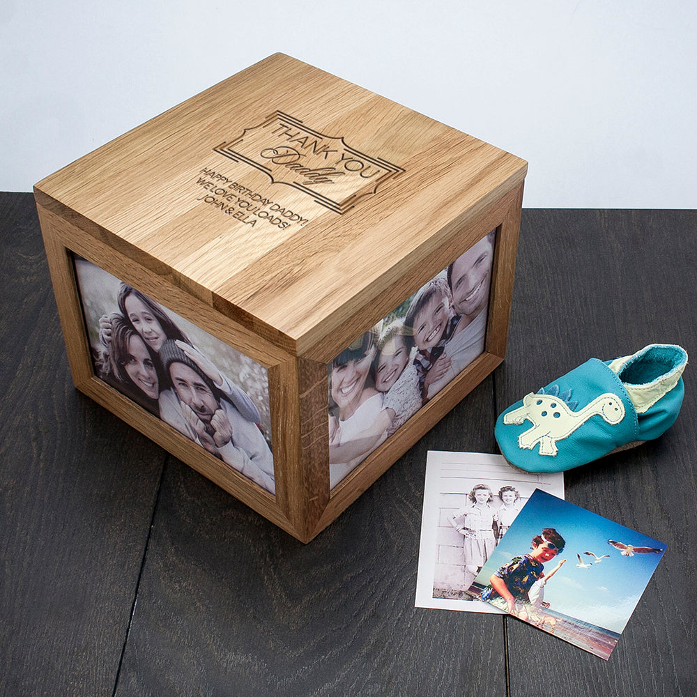 Personalised Thank You Large Oak Photo Keepsake Box - treat-republic
