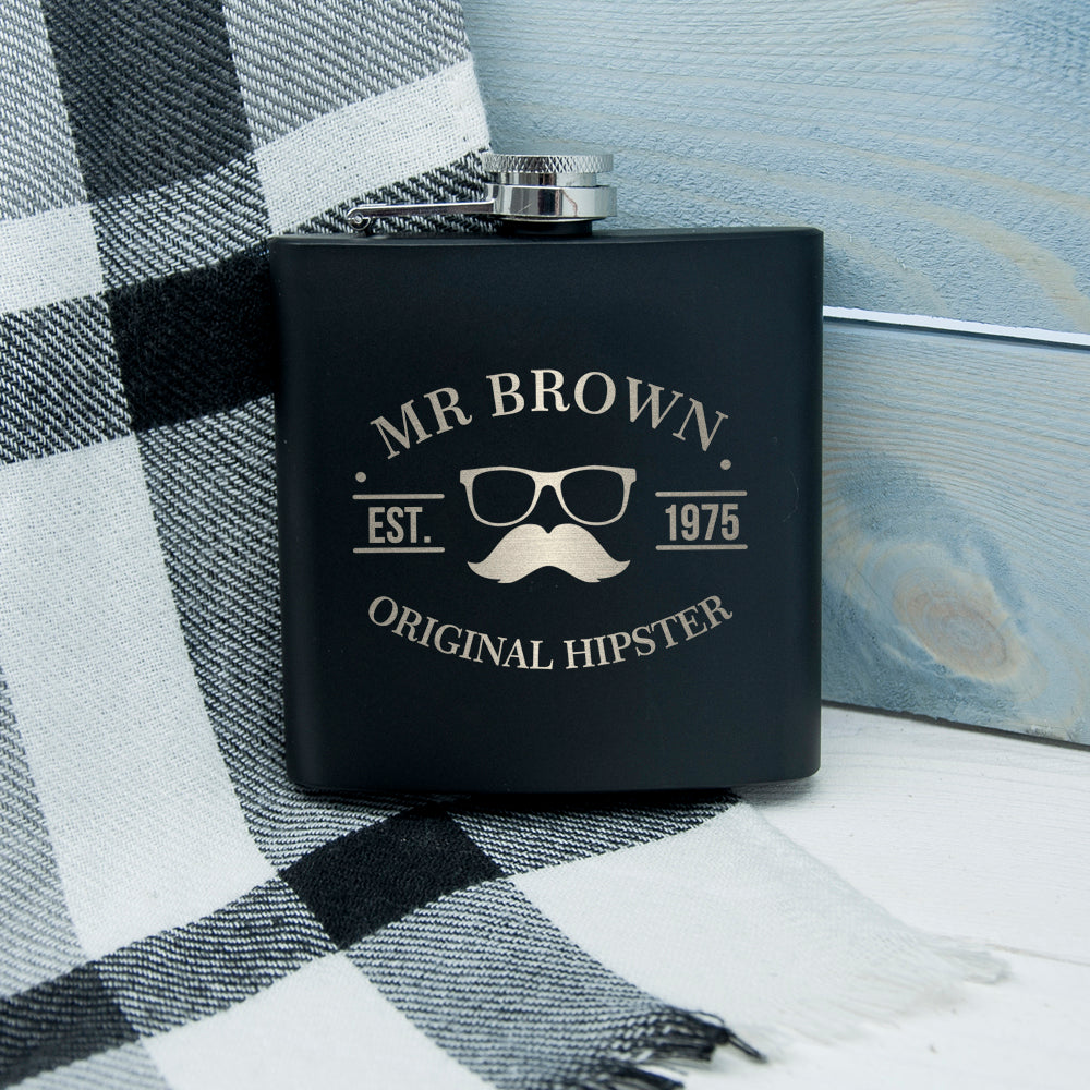 Original Hipster's Black Hip Flask - treat-republic
