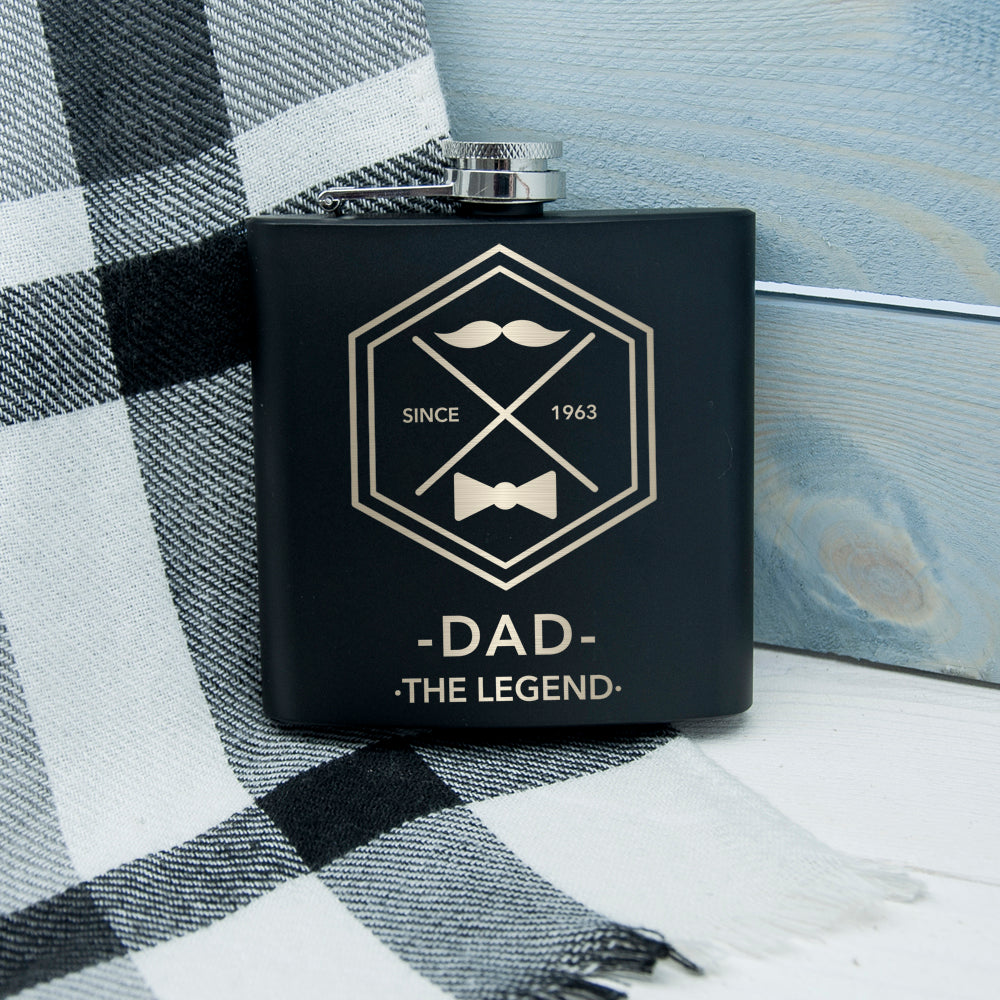 Legend Dad's Black Hip Flask - treat-republic