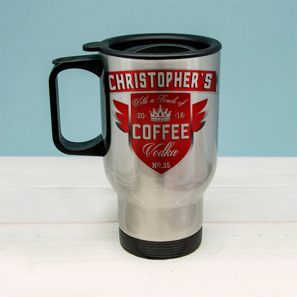 Coffee With a Touch of Vodka Travel Mug - treat-republic