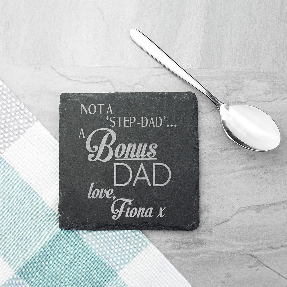 A Bonus Dad Square Slate Keepsake
