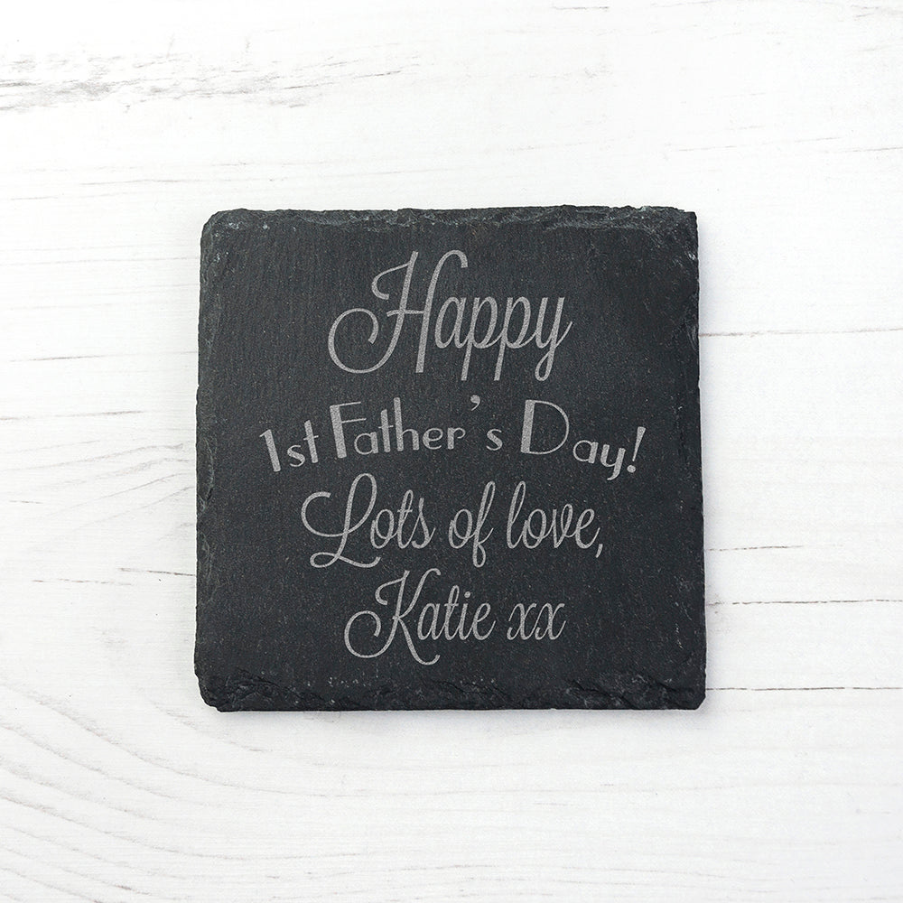 Happy 1st Father's Day Square Slate Keepsake - treat-republic