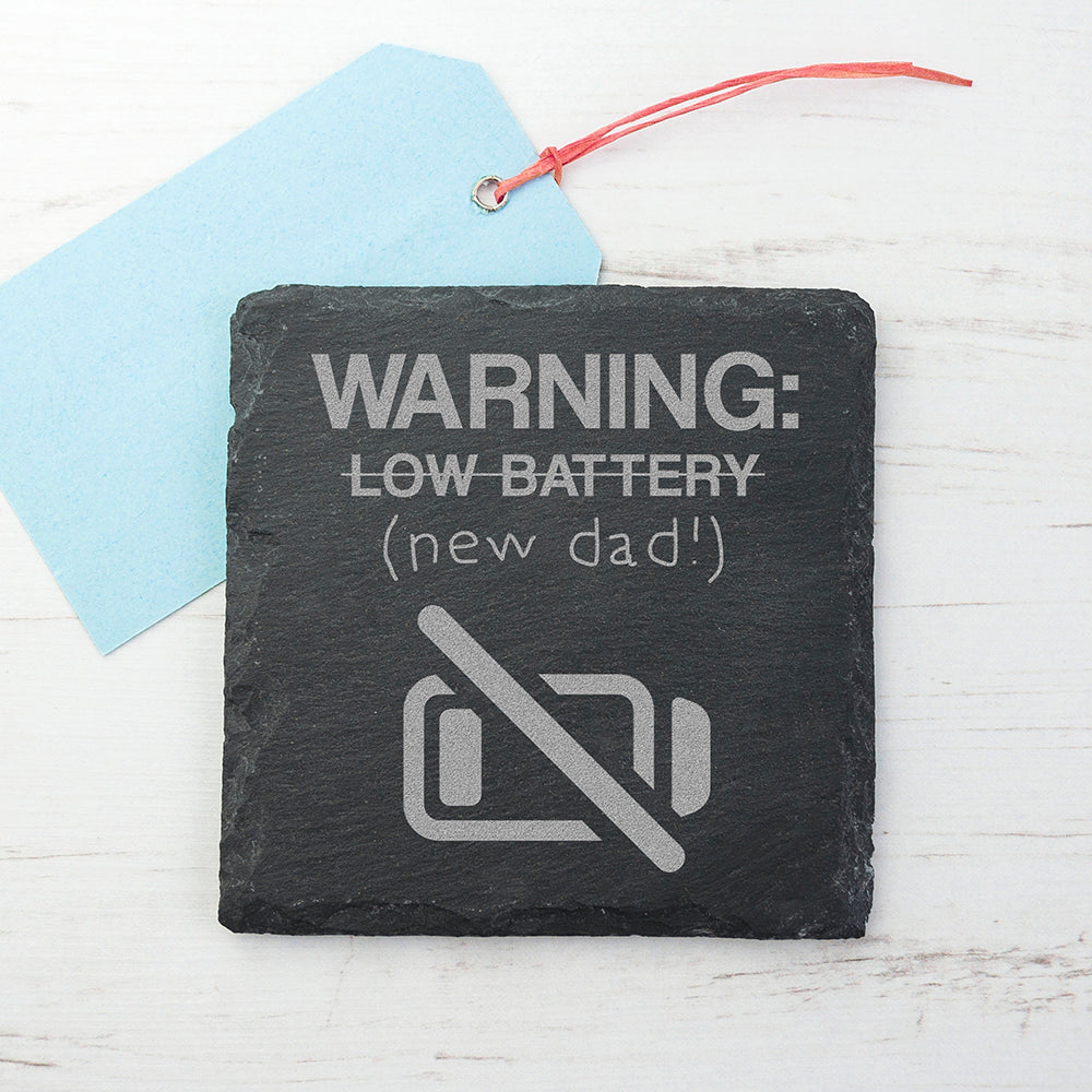 Warning: New Dad Square Slate Keepsake (Non Personalised Gift) - treat-republic
