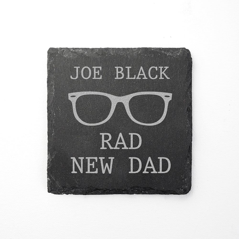Rad New Dad Square Slate Keepsake