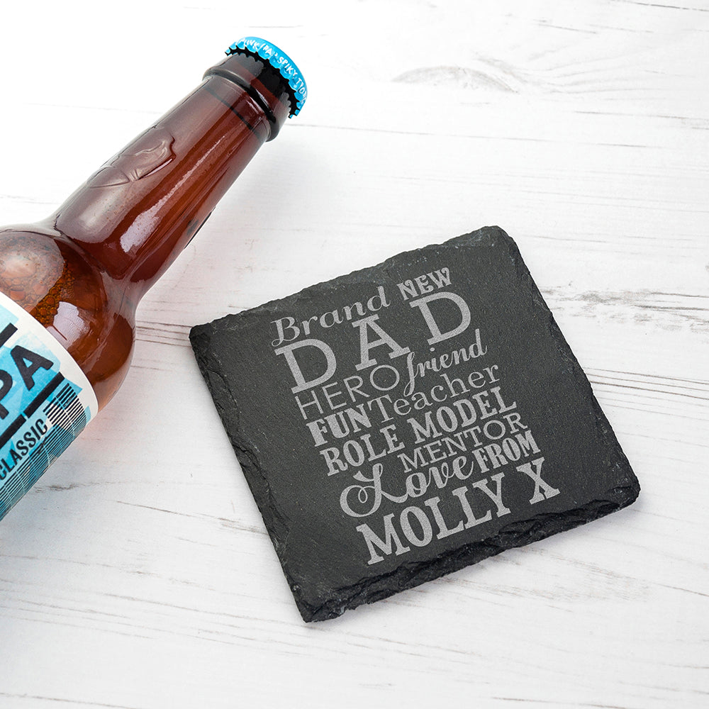 What A New Dad Means Square Slate Keepsake - treat-republic