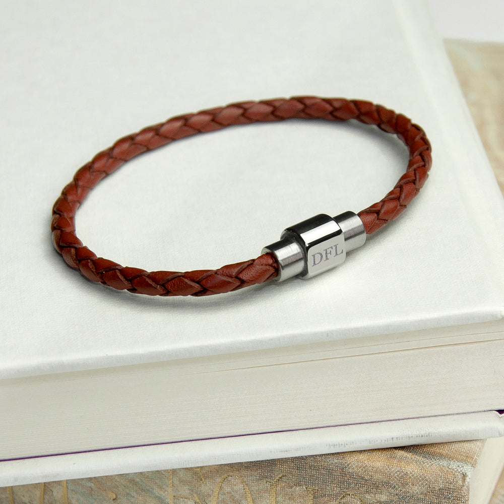 Personalised Men's Woven Leather Bracelet in Burnt Sienna - treat-republic
