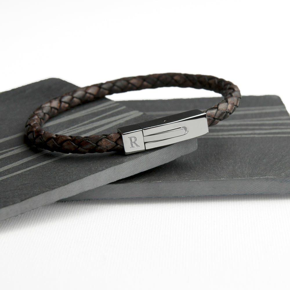 Personalised Men's Leather Bracelet With Tube Clasp - treat-republic