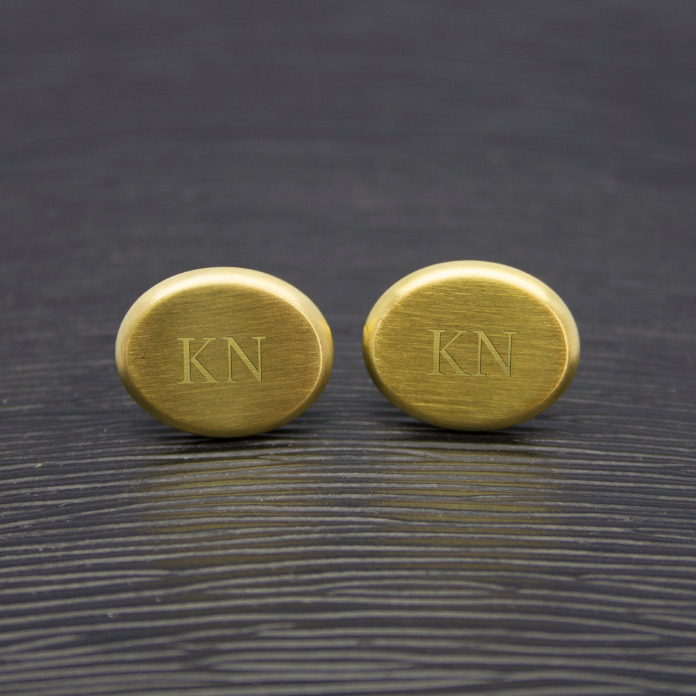 Men's Matte Finish Brushed Gold Oval Cufflinks - treat-republic