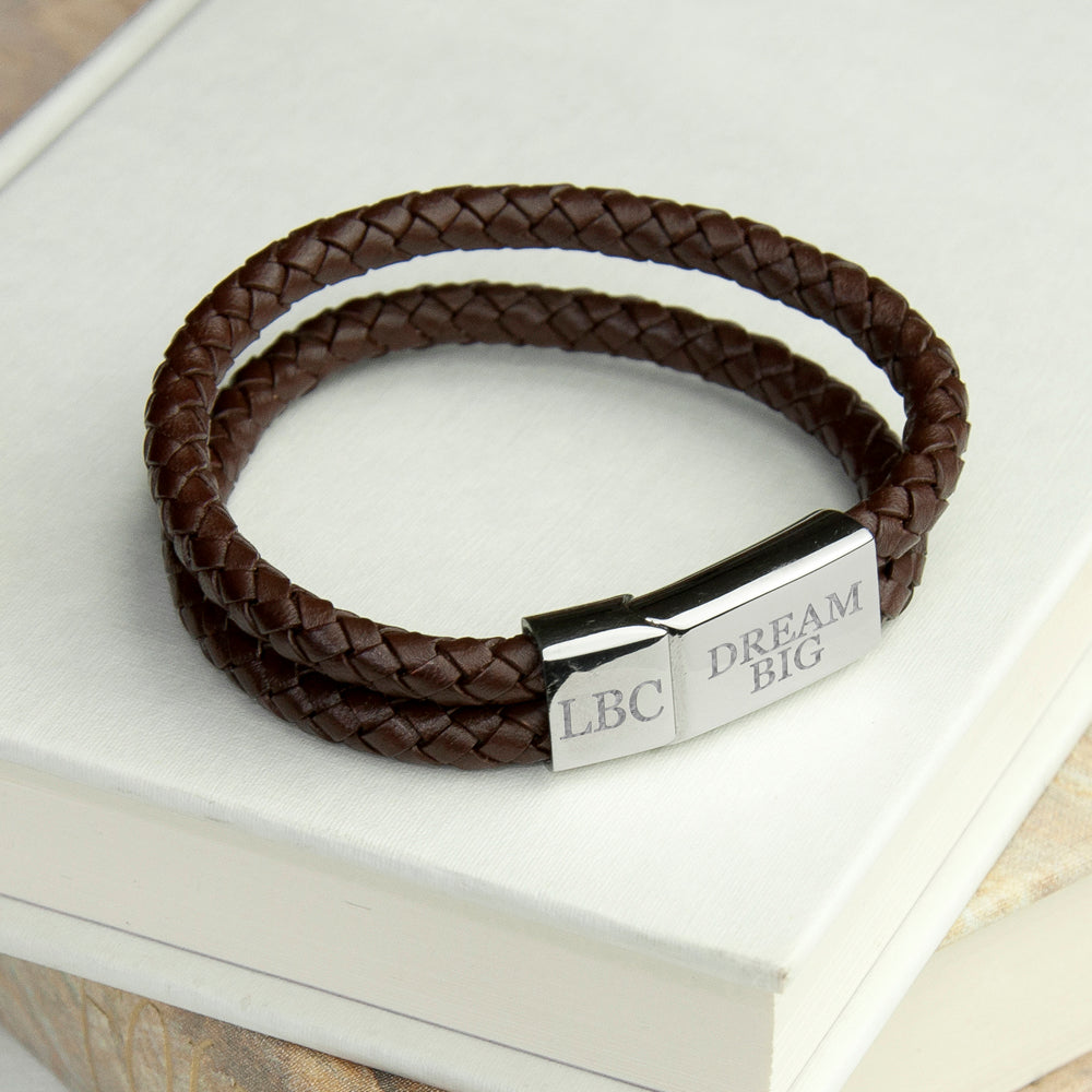 Personalised Men's Dual Leather Woven Bracelet In Umber - treat-republic
