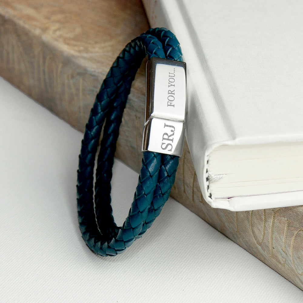 Personalised Men's Dual Leather Woven Bracelet in Teal - treat-republic